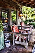 Wood Digital Art Originals - Country Chairs by Paul Bartoszek