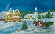 Winter Night Painting Metal Prints - Country Christmas Metal Print by Charlotte Blanchard