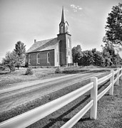 Country Church Framed Prints - Country Church BW Framed Print by Brian Mollenkopf