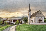 Salzburg Prints - Country Church Print by Debra and Dave Vanderlaan