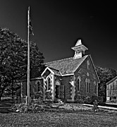 Grey Roots Museum  Framed Prints - Country Church monochrome Framed Print by Steve Harrington