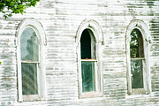 Trio Prints - Country Church windows Print by Toni Hopper