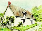 Country Cottage Framed Prints - Country Cottage England  Framed Print by Morgan Fitzsimons