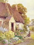 Old Village Paintings - Country Cottage by Joshua Fisher