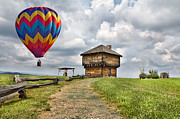 Hot Air Balloon Digital Art Prints - Country Cruising  Print by East Coast Barrier Islands Betsy A Cutler