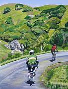 Cyclists Framed Prints - Country Cyclists Framed Print by Colleen Proppe