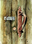 Rust Painting Prints - Country Door Lock Print by Sam Sidders