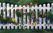 Flowers Pastels Framed Prints - Country Fence Framed Print by Valerian Ruppert