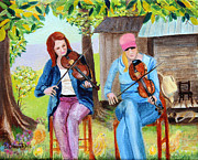 Violins Paintings - Country Fiddlers by Pauline Ross