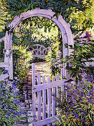Decorative Benches Painting Posters - Country Garden Gate Poster by David Lloyd Glover