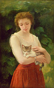 Contentment Prints - Country Girl and her Kitten Print by Charles Landelle
