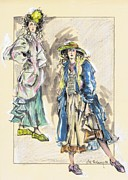 Historical Costume Framed Prints - Country Girls or Chicas Del Campo Framed Print by Jill Bennett