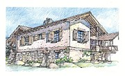 Wine Country Drawings Posters - Country Home Poster by Andrew Drozdowicz