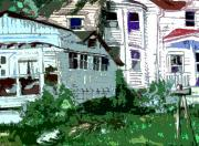 Wooden Building Digital Art Posters - Country Home Poster by Mindy Newman