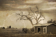 Lightning Bolts Posters - Country Horses Lightning Storm NE Boulder County CO 76SepTX Poster by James Bo Insogna