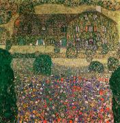 Country Framed Prints - Country House by the Attersee Framed Print by Gustav Klimt