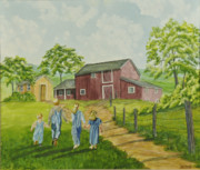 Barn Painter Posters - Country Kids Poster by Charlotte Blanchard