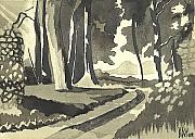 Path Drawings Prints - Country Lane in Evening Shadow Print by Kip DeVore