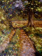 Original Art Pastels Prints - Country Lane Print by John  Nolan