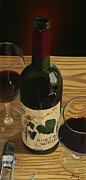 Wine Bottle Art Paintings - Country Livin by Brien Cole