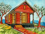 Beautiful Scenery Paintings - Country New Orleans shot gun house by Connie Valasco