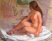 Couch Pastels Framed Prints - Country Nude Framed Print by Bill Joseph  Markowski