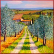Italian Landscapes Paintings - Country path by Mauro Bendinelli