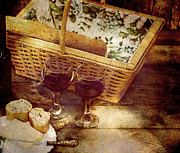 Red Wine Bottle Prints - Country Picnic for Two. Print by Kelly Nelson