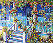 Original  By Artist Paintings - Country Porch and Flowers by Prankearts by Richard T Pranke