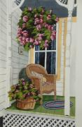 Wicker Chair Prints - Country Porch Print by Charlotte Blanchard