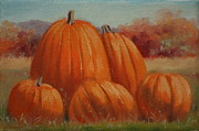 Pumpkins Paintings - Country Pumpkins by Linda Eades Blackburn