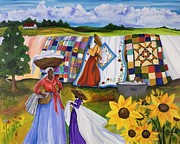 African American Women Paintings - Country Quilts by Diane Britton Dunham