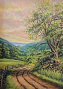 Fencing Paintings - Country Road Fencing by Diana Miller