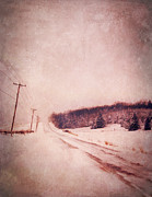 Roadway Framed Prints - Country Road in Snow Framed Print by Jill Battaglia