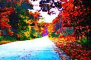 Indiana Autumn Digital Art Prints - Country Road Print by Jan Bonner