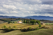 Tuscan Road Framed Prints - Country Road with Farmhouse in Val DOrci Framed Print by Jeremy Woodhouse
