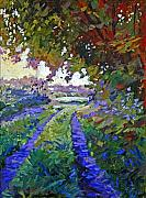 Roads Paintings - Country Roads Provence by David Lloyd Glover