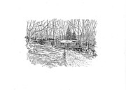 Log Cabin Drawings Prints - Country Scene 1 Print by David Burkart