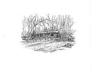 Log Cabin Drawings Prints - Country Scene 2 Print by David Burkart