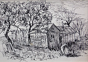Shack Drawings Prints - Country Shack Print by Bill Joseph  Markowski