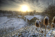 Country Cottage Photos - Country Snow And Sunrise by Yhun Suarez