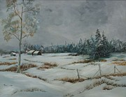 Snow Scene Painting Originals - Country Snow by Terri Gordon