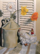 Ceramic Jug Posters - Country Still Life Poster by Fay Akers