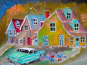 Litvack.old Cars Paintings - Country Village 1954 by Michael Litvack
