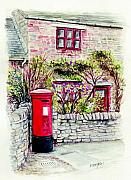 English Country Art Prints - Country Village Post Box Print by Morgan Fitzsimons