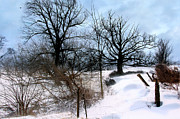 Snow Drifts Prints - Country Winter Scene Print by C Wayne Hennebert