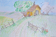 Shed Drawings Prints - Country Woodshed Print by Debbie Portwood
