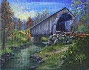 Covered Bridge Painting Metal Prints - Countryside Bridge Metal Print by Marlene Kinser Bell