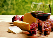 Wine Illustrations Framed Prints - Countryside Wine  Cheese and Fruit Framed Print by Elaine Plesser