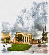 Manatee Co. Prints - County Courhouse - Sketch Print by Nicholas Evans